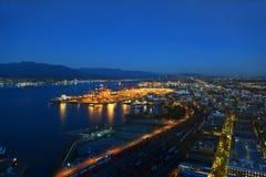 Haven van de nachtmening van Vancouver, BC, Canada Royalty-vrije Stock Afbeelding