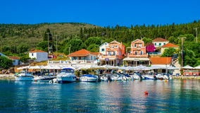 Haven van Fiskardo op Kefalonia-eiland, Griekenland stock fotografie