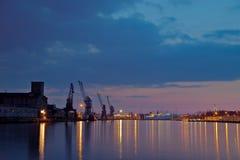 Haven van Gdansk bij nacht Stock Afbeelding