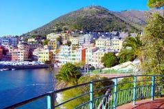 Haven van Genoa Nervi van de Promenade Retro stijl Royalty-vrije Stock Fotografie