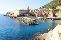 Haven van Genoa Nervi van de Promenade Retro stijl Stock Afbeelding