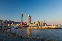 Haven van Kobe-horizon in mooie middag, Kansai, Japan stock foto