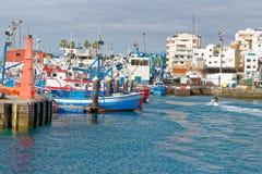 Haven van Los Cristianos baai, Tenerife, Spanje Stock Foto's
