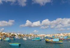 Haven van Marashlok in Malta stock afbeeldingen