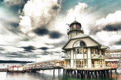 Haven van Nanaimo op een bewolkte de zomeravond, het Eiland van Vancouver stock afbeelding