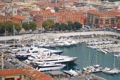 Haven van Nice, jachthaven, watervervoer, haven, dok stock fotografie