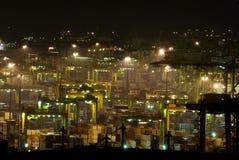 Haven van Singapore bij nacht Royalty-vrije Stock Foto