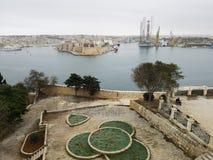 Haven van Valletta Malta van de bastionen van de stad stock afbeeldingen