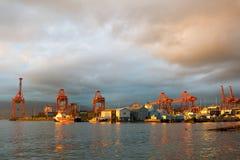 Haven van Vancouver BC Canada bij Zonsondergang royalty-vrije stock foto's