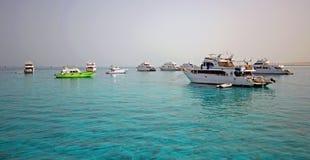 Haven van Vissersboten Hurghada stock foto
