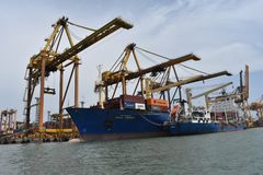 Haven [Haven] Weergeven, Sri Lanka, schepen stock fotografie