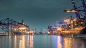 Havenbassin Waltershof in de haven van Hamburg Royalty-vrije Stock Afbeelding
