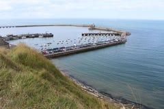 Havenhaven Engelse Bessin Huppain, Normandië in Frankrijk Stock Fotografie