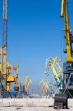 Havenkranen bij de lading in zeehaven Stock Afbeelding