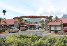 Havensight Mall in St. Thomas, US Virgin Islands - 12/13/17 - Havensight mall shopping area in the cruise port terminal in St.  Th. Havensight mall shopping area Royalty Free Stock Photo