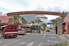 Havensight Mall in St. Thomas, US Virgin Islands - 12/13/17 - Havensight mall shopping area in the cruise port terminal in St.  Th. Havensight mall shopping area Stock Image