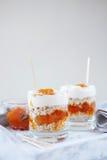 Haver gelaagd met kruidige abrikozenjam Gezond voedselconcept stock afbeeldingen