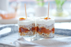 Haver gelaagd met kruidige abrikozenjam Gezond voedselconcept royalty-vrije stock afbeeldingen