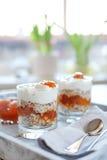 Haver gelaagd met kruidige abrikozenjam Gezond voedselconcept royalty-vrije stock fotografie