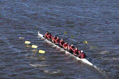 The Haverford School Crew races in the Head of Charles Regatta Men`s Youth Eight Stock Photography