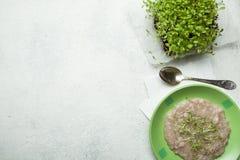 Havermeel in een groene kom en micro- greens op de keukenlijst, hoogste mening Het concept het verminderen van het gewicht van ge royalty-vrije stock fotografie