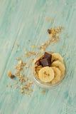Havermeel met banaan voor breakfas Royalty-vrije Stock Afbeeldingen