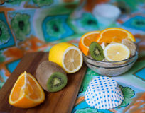 Havermeel met fruit Stock Foto's