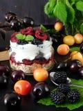 Havermeel met yoghurt en bessen in een kruik royalty-vrije stock foto