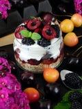 Havermeel met yoghurt en bessen in een kruik royalty-vrije stock afbeeldingen