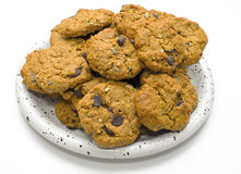 Havermeelchocolade Chip Cookies op Plaat Royalty-vrije Stock Foto's