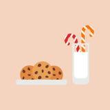 Havermeelkoekjes met chocoladeschilfers, melk en suikergoed Behandelt voor Kerstman Vector Royalty-vrije Stock Foto's