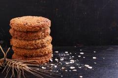 Havermeelkoekjes met korrels Stock Foto