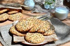 Havermeelkoekjes met zaden Stock Foto