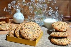 Havermeelkoekjes met zaden Stock Afbeelding