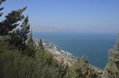 Havet av Galilee och Tiberias Fotografering för Bildbyråer