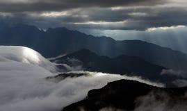 Havet av moln på nötkreaturet drar tillbaka berget i västra Sichuan, Kina fotografering för bildbyråer