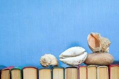 Havet beskjuter och stenar på mångfärgade böcker på ljus - blått Arkivfoton