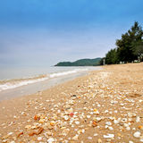 Havet beskjuter på sanden Royaltyfri Fotografi