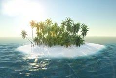 Havet den tropiska ön, gömma i handflatan, tolkningen för solen 3d stock illustrationer