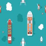 Havet för den bästa sikten sänder sömlös bakgrund vektor illustrationer