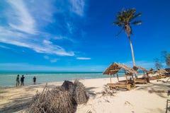 Havet och kokosnöten gömma i handflatan Arkivfoto