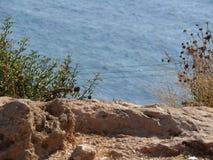 Havet ovanför Rosh Hanikra Israel Arkivfoto