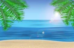 Havet, palmträden och den tropiska stranden under blått Royaltyfri Fotografi