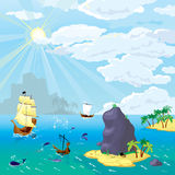 Havet, skepp, öar Royaltyfri Bild