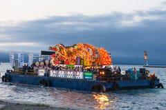 Havet ståtar av den Aomori Nebuta festivalen i Japan Royaltyfri Bild