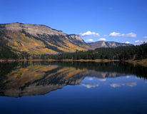 Haviland Lake Reflection. The Hermosa Cliffs reflected in Haviland Lake in southwest Colorado photographed during the autumn season Stock Photo
