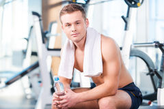 Having a break after workout. Royalty Free Stock Photos