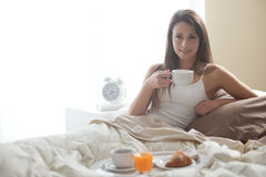 Having breakfast in the bed Royalty Free Stock Images