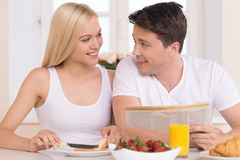 Having breakfast together. Royalty Free Stock Photos