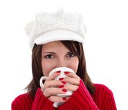 Having a cup of warm tea Stock Image